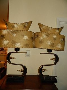 Vintage Pair of Mid Century Atomic Majestic 2 Tier Table Lamps Eames Era 1950's