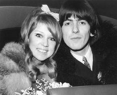Pattie Boyd and George Harrison on their wedding day in 1966.