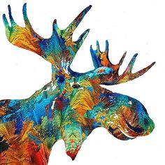Artsy colorful moose