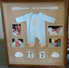 "Shadow box with the ""coming home"" outfit, first foot prints, first photos, medical bracelets, etc. Adoption version: Coming home outfit, plane tickets, itinerary, first pictures together."