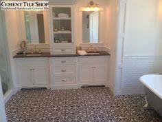 Cement Tile Shop - Handmade Cement Tile | Roseton Charcoal Pattern. Contact us at (800) 704-2701. Picture by Krogh Enterprises, Phoenix, AZ