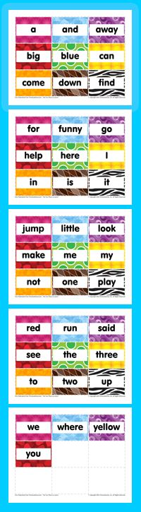 FREE Dolch Sight Word Flashcards! Pre-Primer level for preschoolers. www.primarygames.com