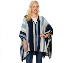 44.52$  Watch here - http://vitbf.justgood.pw/vig/item.php?t=e2562i25766 - Isaac Mizrahi SOHO Striped Sweater Poncho Slits Blue Multi Missy NEW A273642 44.52$
