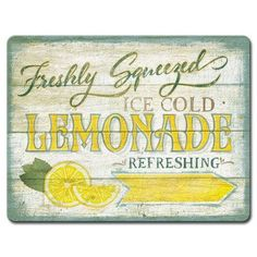 Vintage Farmhouse Decor Found it at Wayfair - Farmhouse Canvas Lemonade Sign Vintage Advertisement on Wrapped Canvas - Farmhouse Canvas capture country themes on stretched quality canvas. Perfect for any room decor need. Ready to hang. Made in USA. Diy Cutting Board, Glass Cutting Board, Lemon Kitchen Decor, Kitchen Ideas, Kitchen Upgrades, Kitchen Signs, Kitchen Art, Kitchen Remodeling, Lemonade Sign