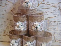 RESERVED FOR LESLIE 2 Burlap Napkin Rings by goodbuyNoraJean                                                                                                                                                                                 Mais