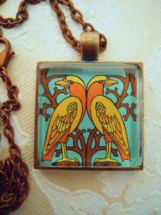William Morris Era 2 Birds Floral Glass Pendant Necklace Wearable Arts and Crafts Craftsman Deco Mission Style