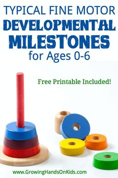Typical fine motor developmental milestones for ages Free printable list included! Fine Motor Activities For Kids, Motor Skills Activities, Gross Motor Skills, Infant Activities, Learning Activities, Sensory Activities, Physical Development, Child Development, Pediatric Occupational Therapy