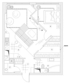 Дизайн проект квартиры свободной планировки (планировочное решение)