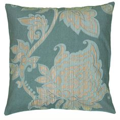 Showcasing a floral motif, this chic teal pillow brings eye-catching style to your living room or den.   Product: Pillow...