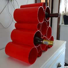 Picture of Easy PVC pipe wine rack. SIMPLE.