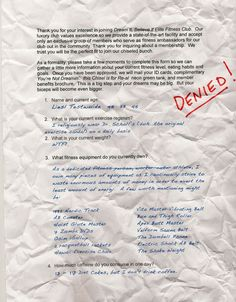 application for fitness club denied - be sure to click through to the blog post to see page 2 -- last question is hilarious!