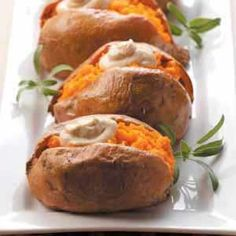 Dolloped Sweet Potatoes Recipe from Taste of Home. Brown sugar and pumpkin pie spice flavor the simple but rich cream-cheese topping.