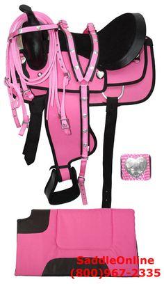 New 16 Beautiful Pink Cordura Saddle W Tack Pad