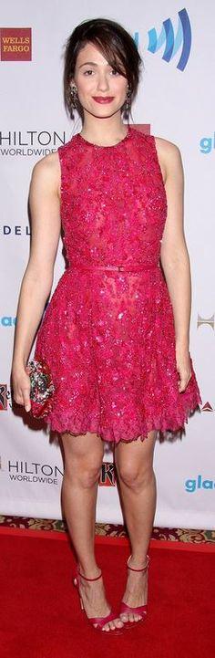 Emmy Rossum: Dress – Elie Saab  Jewelry – House of Lavande