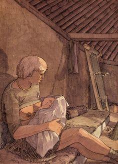 Kvinde med Egtvedpigens dragt, ammer – Frau mit Egtved-Tracht, innerhalb Haus – Woman with Egtved-dress, inside House