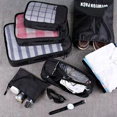 Packing Cubes, WEWEON 6 Set Packing Cubes- Travel Packing Organizers for Luggage Suitcase with Laundry Bag Packing Cubes, Travel Packing, Travel Luggage, Travel Hacks, Travel Cubes, Unique Shoes, What To Pack, Things To Buy, Wish