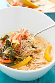 A warm, hearty meal that is easily vegan when using the appropriate noodles. Coconut curry soup over vermicelli rice noodles is quick, easy, and delicious!