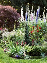 """""""While formal gardens thrive on order and well-defined spaces, cottage gardens bubble in cheerful tangles of flowers that form a kaleidoscope of hue and texture. Cottage garden style is relaxed, colorful, and fun... a cottage garden has perhaps less regard for rules than for doing what you really love,""""   I really love cottage garden style!"""