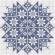Cross stitch chart. A blue geometric pattern