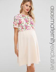 ASOS Maternity NURSING Floral Embellished Skater Dress