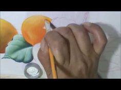 """Como pintar """"Pera, laranjas e folhas"""" Aula 6 - pintura em tecido"""