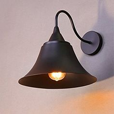 $32  Wall Sconce Light Vintage Industrial Metal Wall Lamp Shade Retro Loft Barn Lighting Fixture Gooseneck Black