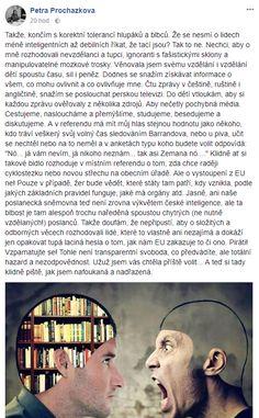 """Otevřený dopis novinářce Procházkové, která """"končí s tolerancí blbců a ignorantů s fašistickými sklony"""" – Samizdat"""