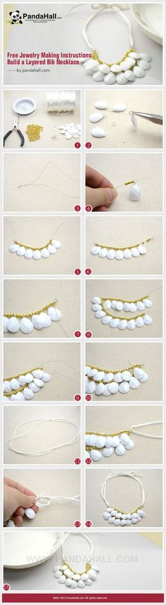 DIY Jewelry: Free Jewelry Making Instructions Build a Layered Bib Necklace Wire Jewelry, Jewelry Crafts, Beaded Jewelry, Handmade Jewelry, Beaded Lace, Collar Diy, Pochette Diy, Diy Collier, Diy Accessoires