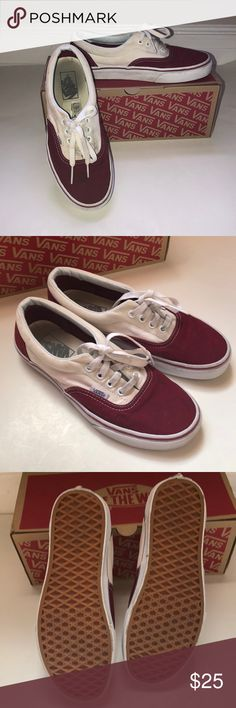 "01218662fdb Vans Era red and white tennis shoes 7.5 Awesome pair of Vans tennis shoes ""  Biking Red white Women s size 7.5 Very title wear on rubber soles Some  slight ..."