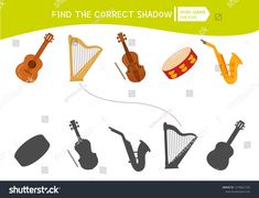 Educational game for children. Find the right shadow. Kids activity with cartoon musical instruments. Preschool Music Activities, Number Worksheets Kindergarten, Music Worksheets, Kindergarten First Day, Educational Games For Kids, Activities For Kids, Music Notes Art, Music Lessons For Kids, Teaching Music