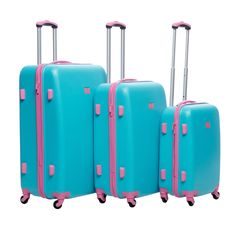 Easy to identify in airports or anywhere else your journeys take you, this luggage set has a unique style. This hardside luggage set features an inside divider with pockets for convenience.