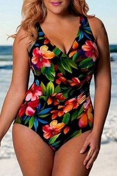 Alluring V-Neck Floral Print Plus Size One Size Swimwear For Women