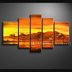 Primitive Contemporary Wall Art Oil Painting On Canvas Panels Gallery Stretched Africa Landscape. This 5 panels canvas wall art is hand painted by Bo Yi Art Studio, instock - $168. To see more, visit OilPaintingShops.com