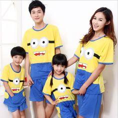 2014 baby wear set 100% contoon girls boys short sleeve pajamas set kids despicable me suits 2pcs sets FSO Parent-child clothing $15.80 - 19.80