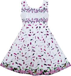 Sunny Fashion Flower Girl Dress Purple Green Leaves Flying in Wind Pattern Cotton 2018 Summer Princess Wedding Party Size Kids Outfits Girls, Girl Outfits, Girls Dresses, Everyday Dresses, Dress With Bow, Flower Dresses, Purple Dress, Ideias Fashion, Casual Dresses