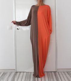 Mocha / Peach Oversized Maxi Elastic Cotton Caftan Dress/Kaftan dress/Party/Day/Plus size /Maxi dress/ by cherryblossomsdress on Etsy https://www.etsy.com/listing/216731935/mocha-peach-oversized-maxi-elastic
