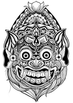 Bali Dragon Line Drawing Photos - - Mask Drawing, Doodle Art Drawing, Tattoo Design Drawings, Art Drawings Sketches, Kunst Tattoos, Body Art Tattoos, Dragon Line Drawing, Balinese Tattoo, Widder Tattoo