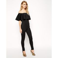 ASOS Scuba Jumpsuit With Off Shoulder Ruffle (135 BRL) ❤ liked on Polyvore featuring jumpsuits, asos, black, tall romper, ruffle romper, asos romper and off the shoulder romper