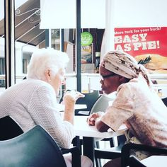 """Ouma & Gogo.  These 2 elderly ladies really epitomised how we should be treating one another in this country. With all the terrible """"ish"""" going down in SA right now its great to see that certain humans can just get along. #easyaspie  #rascismmustfall #explorepretoria #exploreyourcity #exploresouthafrica #loveyourcity #loveoneanother #fujifilmx30 #fujifilm_sa #fujifilm_xseries #photooftheday #instagramsa #instagood #instadaily #blackandwhite #rainbownation #ouma #gogo"""