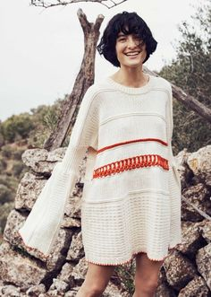 Knit dress with orange detail