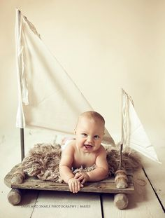 """Holy Cow!! How cute is this from @Woodsy Wonders? Image of NEWBORN Woodsy Wonders """"ORIGINAL"""" Huck Finn / Tom Sawyer Raft with Muslin Sails Photo Prop"""