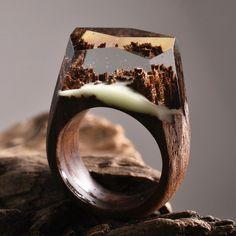 New miniature worlds encased into wooden rings by secret wood http://designwrld.com/new-wooden-rings-secret-wood/