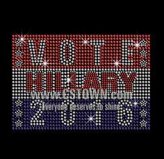 Vote Hillary 2016 Iron on Rhinestone Transfer Decal