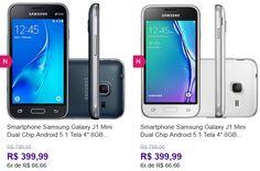 "Samsung Galaxy J1 Mini Dual Chip Android 5.1 Tela 4"" 8GB 3G Wi-Fi Câmera 5MP << R$ 39999 em 6 vezes >>"