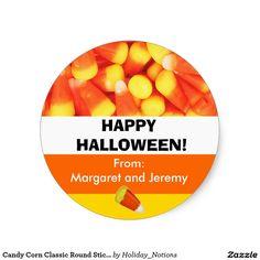 Candy Corn Classic Round Stickers