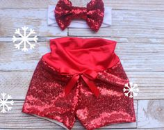 Girls Christmas Outfit, baby Christmas outfit red sequin shorts, sequin shorts, tis the season to sparkle, first birthday outfit,