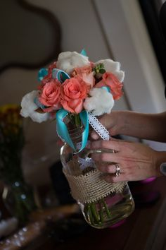 Teal and Coral Wedding Flowers | Unforgettable Floral: Coral and Teal Rock Lake Ranch Wedding