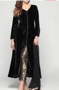 black velvet long kameez custom made dress punjabi suit fitted brocade pant indian womens party wear dresses custom made Kaftan shalwar - Custom made dress fabric velvet tailored as per size inside lined with soft material comes with bro - Party Wear Indian Dresses, Indian Wedding Wear, Pakistani Dresses Casual, Designer Party Wear Dresses, Dress Indian Style, Indian Designer Outfits, Wedding Dress, Punjabi Suits Party Wear, Indian Designers