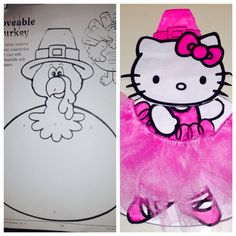 Disguised tom the turkey as a hello kitty ballerina so he won't be eaten on thanksgiving