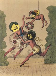 """from count franz graf von pocci's """"viola tricolor: in pictures and rhyme (germany, via 50 watts Tarot, Postcard Art, Photocollage, Ballet, Flower Fairies, Pop Surrealism, Digital Collage, Pansies, Vintage Postcards"""